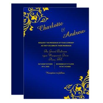 royal blue and golden yellow floral wedding invitation