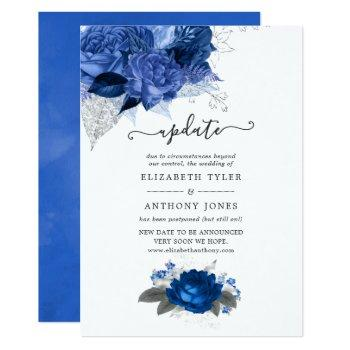 royal blue and silver floral wedding update invitation