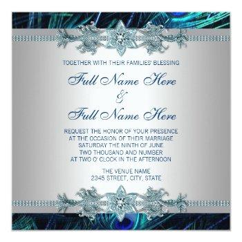 royal blue and silver royal indian peacock wedding invitation