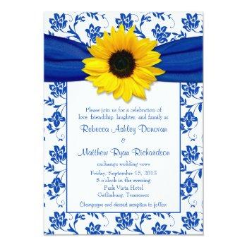 royal blue damask sunflower wedding invitation