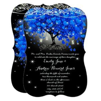 royal blue heart leaf tree mason jar on black invitation