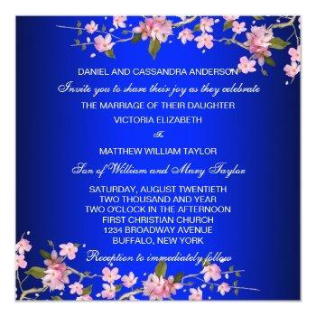 royal blue japanese cherry blossoms wedding invitation