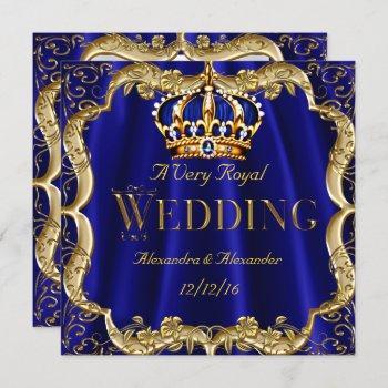 royal blue navy wedding gold crown 2 invitation