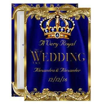royal blue navy wedding gold crown 3 invitation