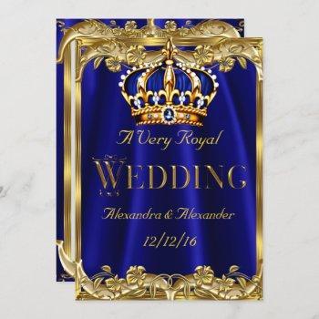royal blue navy wedding gold crown 3 invitation