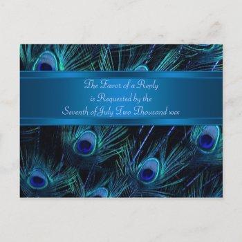 royal blue purple peacock feathers wedding invitation postcard