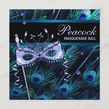 royal blue purple peacock masquerade party invitation