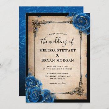 royal blue rose gold black vintage elegant wedding invitation