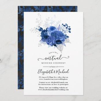 royal blue & silver floral online virtual wedding invitation