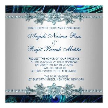 Small Royal Blue Silver Royal Indian Peacock Wedding Invitation Back View