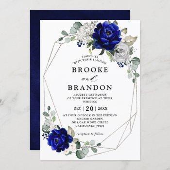 royal blue silver white ivory geometric wedding invitation