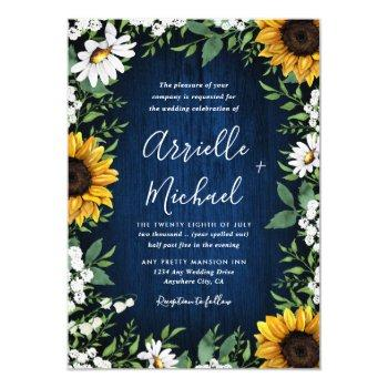 royal blue sunflower country wedding invitations
