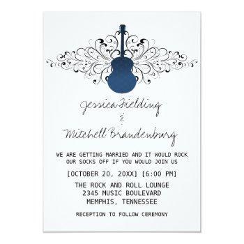 royal blue swirls guitar wedding invitation