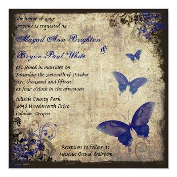 royal blue vintage butterfly wedding invitation