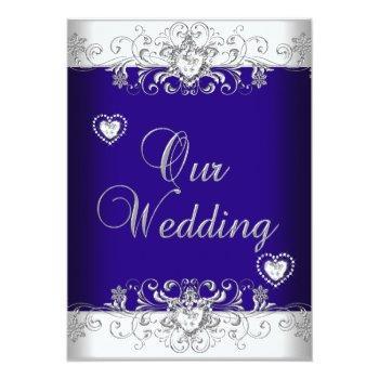 Small Royal Blue Wedding Silver Diamond Hearts 2a Invitation Front View