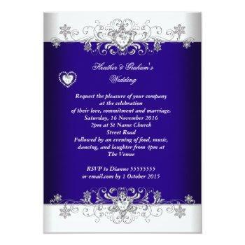 Small Royal Blue Wedding Silver Diamond Hearts 2a Invitation Back View