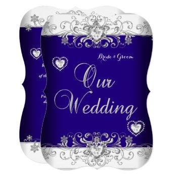 royal blue wedding silver diamond hearts b invitation