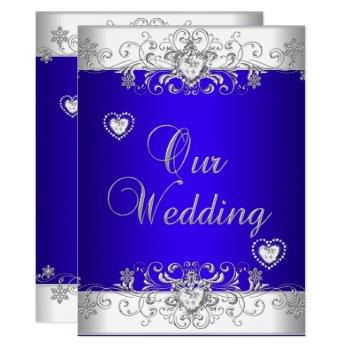 royal blue wedding silver diamond hearts invitation