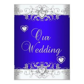 royal blue wedding silver white diamond hearts invitation