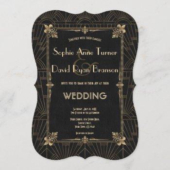 royal fleur-de-lis art deco 1920s wedding invitation