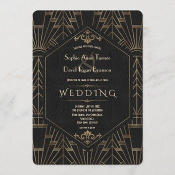 royal gold black great gatsby 1920s wedding invitation