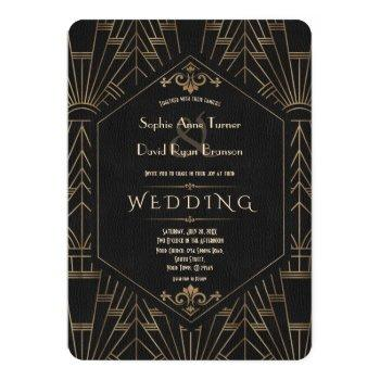 royal gold black great gatsby 1920s wedding invitation