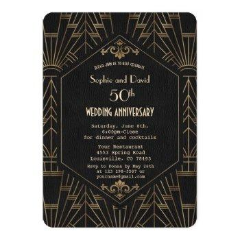 royal gold black great gatsby  wedding anniversary invitation