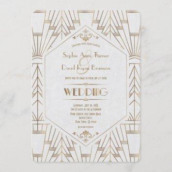 royal gold white great gatsby 1920s wedding invitation