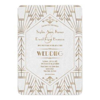 royal gold white great gatsby 1920s wedding invitation