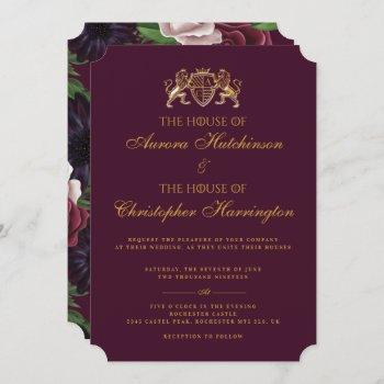 royal muse medieval fantasy plum floral wedding invitation