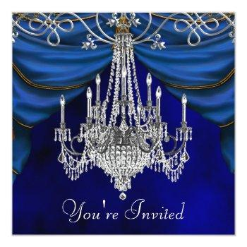 royal navy blue chandelier party invitations
