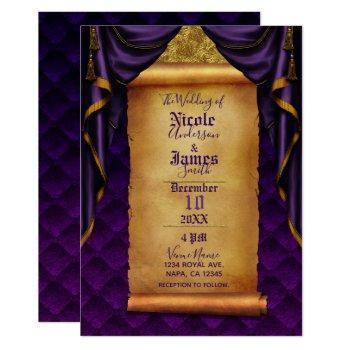 royal purple & gold drapes scroll wedding invitation