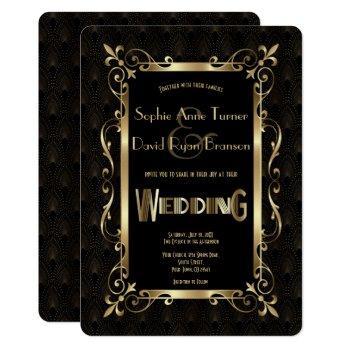 royal roaring 20s gold art deco wedding invitation