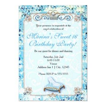 royal storybook cinderella sweet 16 invitation