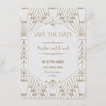 royal white gold great gatsby save the date invitation