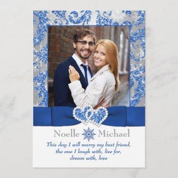 royal winter wonderland joined hearts photo invite