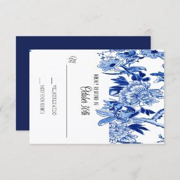 rsvp asian influence navy blue floral chinoiserie invitation