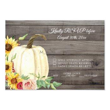 rsvp sunflower pumpkin blush burgundy barn wood invitation
