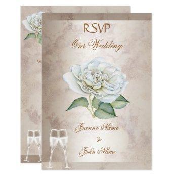 rsvp wedding marble rose cream white champagne invitation