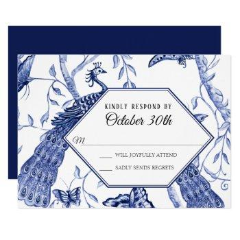 rsvp wedding navy chinoiserie peacock butterflies invitation