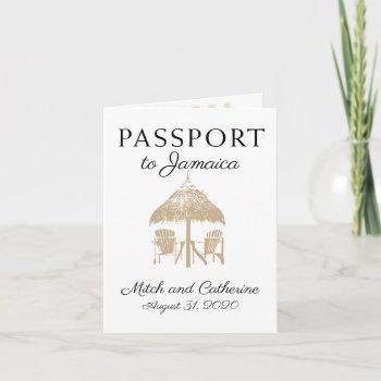 runaway bay jamaica tan passport wedding invitation