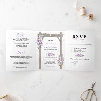 rustic 3 in 1 purple watercolor floral wedding tri-fold invitation