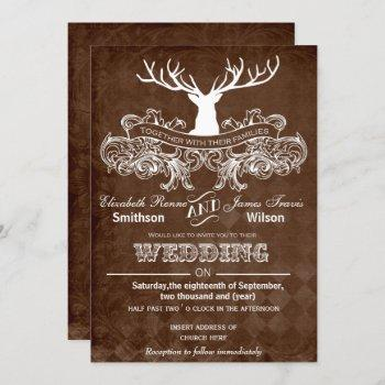 rustic antler deer winter woodland wedding invitation