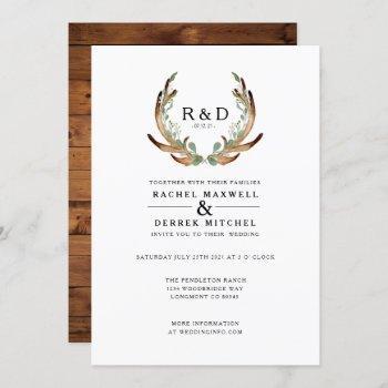 rustic antler watercolor | simple wedding invitation