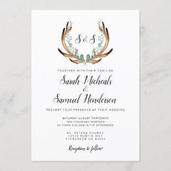 rustic antler | watercolor wedding invitation