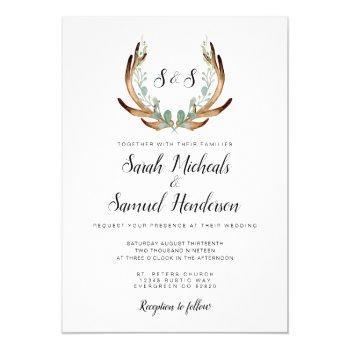 rustic antler   watercolor wedding invitation
