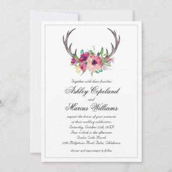 rustic antlers boho floral allure wedding invitation