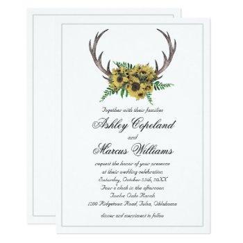rustic antlers boho sunflowers floral wedding invitation