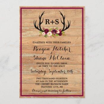 rustic antlers floral burgundy wood wedding invitation