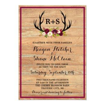 rustic antlers floral burgundy wood wedding invitation